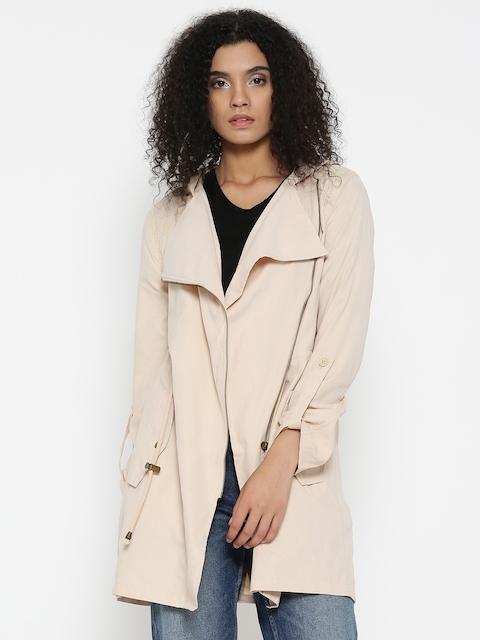 FOREVER 21 Women Beige Solid Longline Hooded Jacket