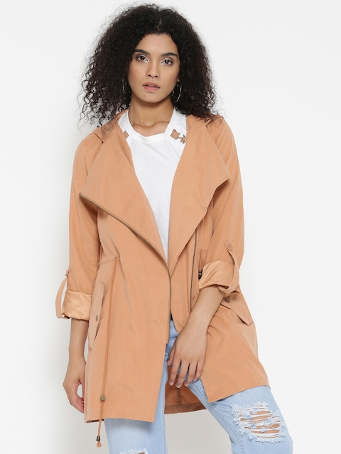 FOREVER 21 Women Peach-Coloured Solid Asymmetric Closure Hooded Longline Tailored Jacket