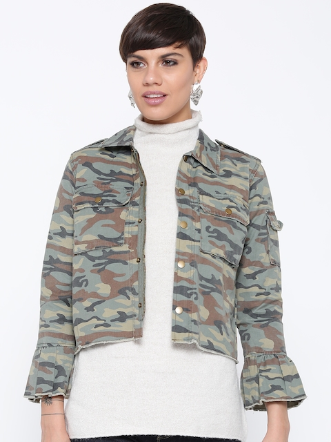 FOREVER 21 Women Green & Brown Printed Tailored Jacket