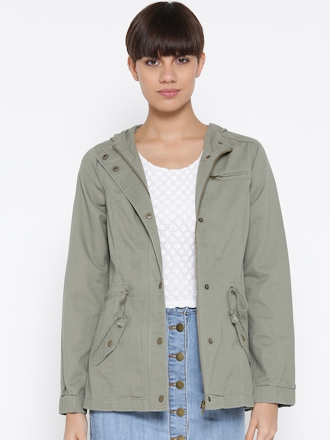 FOREVER 21 Women Olive Green Solid Hooded Tailored Jacket