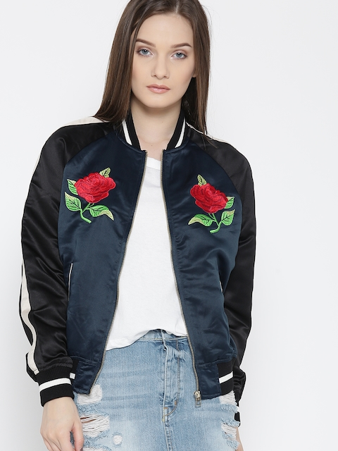 FOREVER 21 Women Navy Blue & Black Embroidered Bomber Jacket
