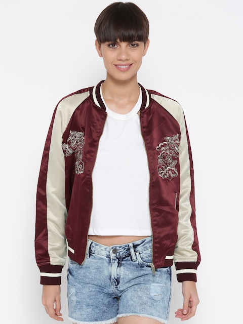 FOREVER 21 Women Maroon & Beige Embroidered Bomber Jacket