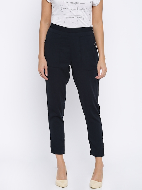 Pepe Jeans Women Navy Regular Fit Solid Trousers
