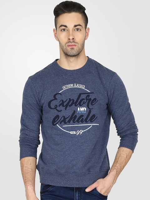 t-base Men Blue Printed Sweatshirt
