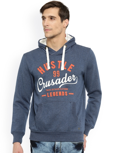 t-base Men Blue Self-Design Hooded Sweatshirt