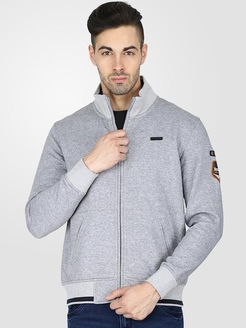 t-base Men Grey Melange Solid Sweatshirt
