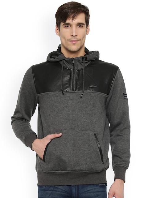 t-base Men Charcoal Grey Colourblocked Hooded Sweatshirt