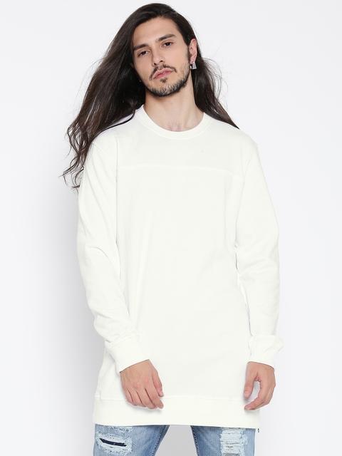 FOREVER 21 Men White Solid Sweatshirt