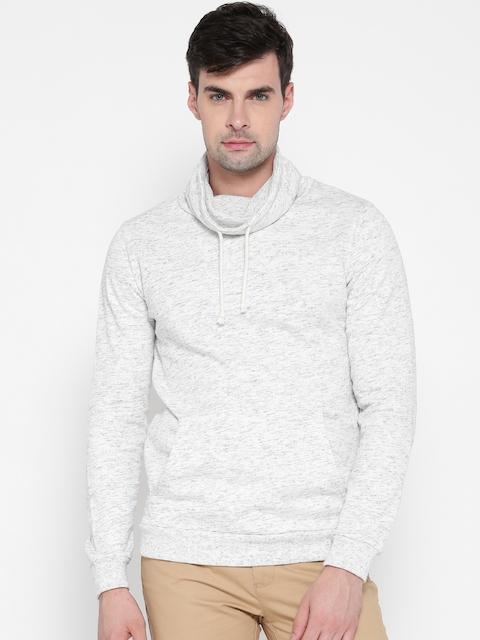 FOREVER 21 Men Off-White Solid Sweatshirt
