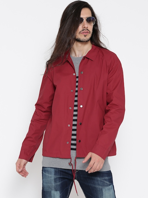 FOREVER 21 Men Red Solid Tailored Jacket