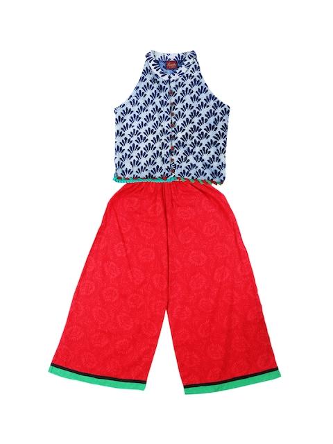 Twisha Girls Blue & Red Printed Clothing Set