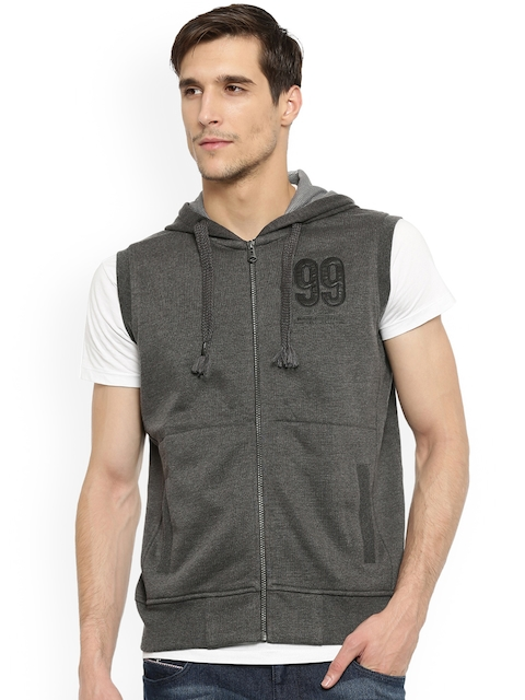 t-base Men Charcoal Grey Solid Hooded Sleeveless Sweatshirt