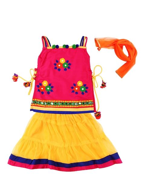Twisha Girls Pink & Yellow Lehenga Choli with Dupatta