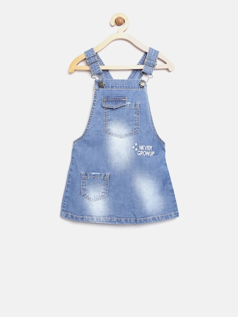 YK Girls Blue Washed Denim Pinafore Dress