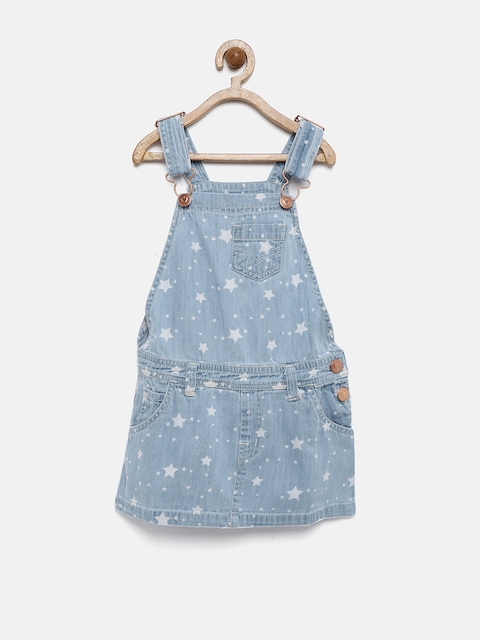 YK Girls Blue Printed Dungaree Dress