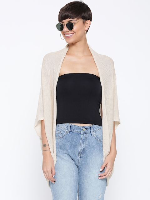 FOREVER 21 Women Beige Solid Front-Open Cardigan