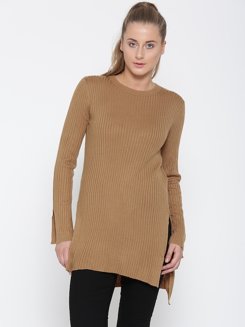 FOREVER 21 Women Beige Solid Longline Sweater