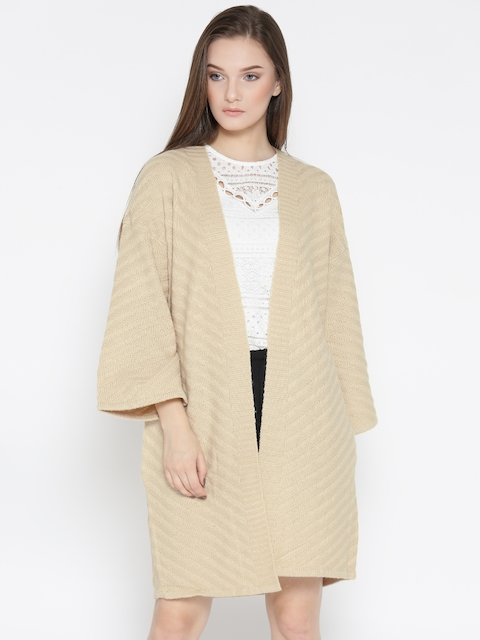 FOREVER 21 Women Beige Self-Striped Front-Open Longline Cardigan