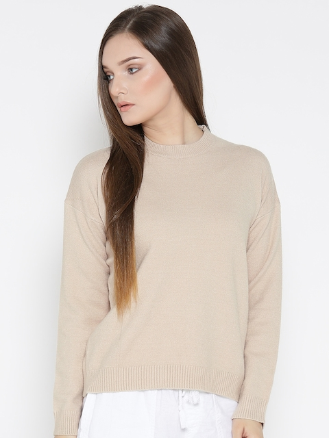 FOREVER 21 Women Beige Solid Sweater