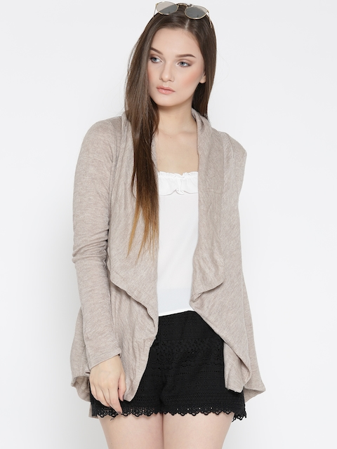 FOREVER 21 Women Beige Solid Cardigan