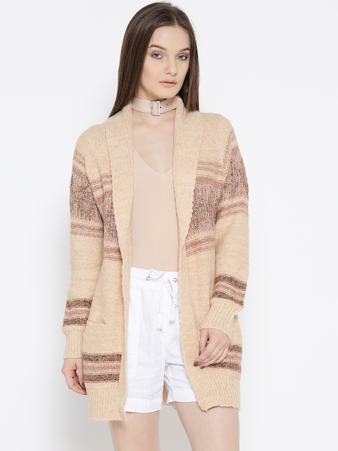 FOREVER 21 Women Beige & Brown Striped Front-Open Cardigan