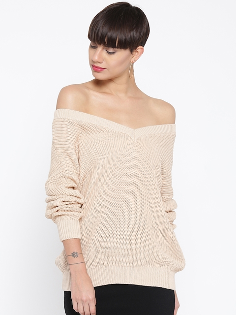 FOREVER 21 Women Beige Self-Striped Sweater