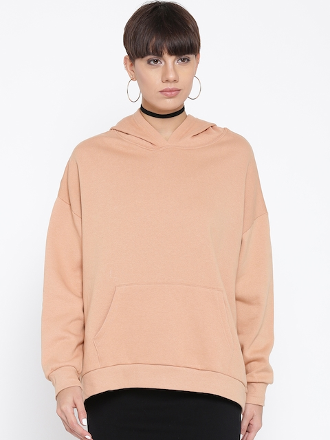 FOREVER 21 Women Peach-Coloured Solid Hooded Sweatshirt