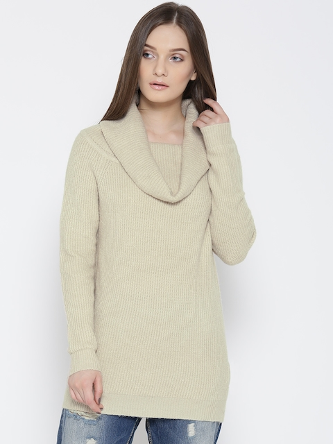 FOREVER 21 Women Beige Self-Design Sweater