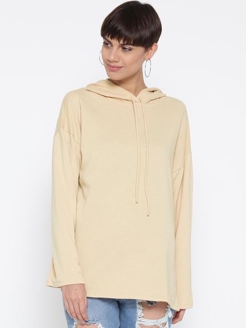 FOREVER 21 Women Beige Solid Hooded Sweatshirt