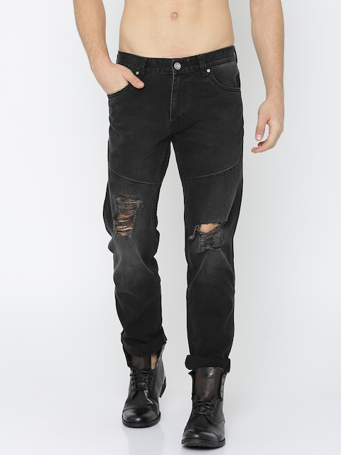Roadster Men Black Slim Fit Mid-Rise Highly Distressed Jeans