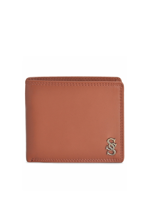 Second SKIN Men Tan Brown Solid Two Fold Leather Wallet