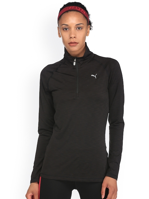 Puma Women Black Core-Run L/S HZ Sweatshirt