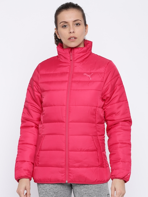 Puma Women Pink Solid ESSENTIALS Padded Jacket