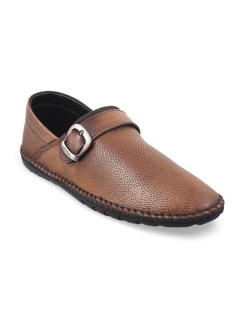 Metro Men Tan Brown Formal Leather Slip-On Shoes