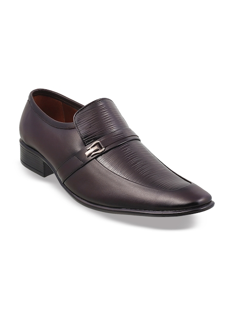 Metro Men Maroon Textured Formal Leather Slip-On Shoes