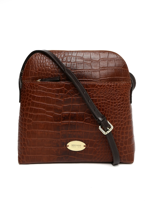 Hidesign Brown Textured Leather Sling Bag  available at myntra for Rs.4236