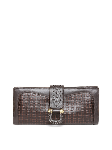 Hidesign Women Coffee Brown Leather Textured Two Fold Wallet