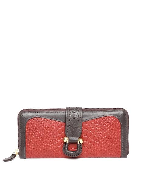 Hidesign Women Maroon & Brown Snakeskin Texture Leather Zip Around Wallet