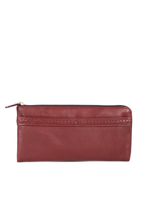 Hidesign Women Maroon Solid Leather Zip Around Wallet