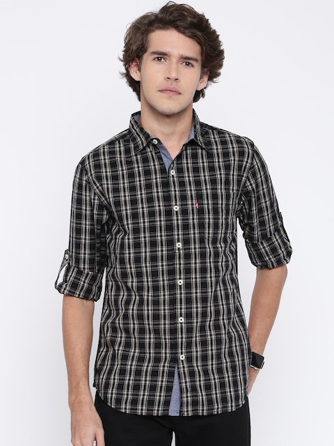 Levis Men Black & Grey Classic Slim Fit Checked Casual Shirt