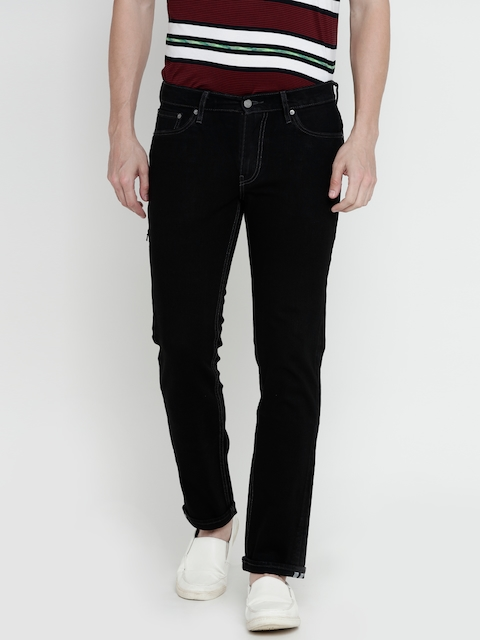 Levis Men Black Mid-Rise Clean Look Stretchable Jeans