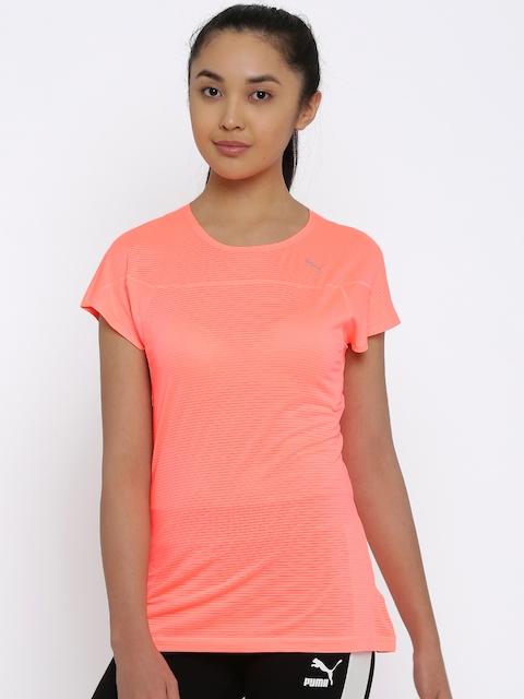 Puma Women Neon Pink Self Striped Speed S/S T-shirt