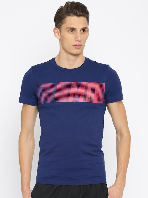 Puma Men Navy Blue Printed Slim Fit Brand Speed Logo T-shirt