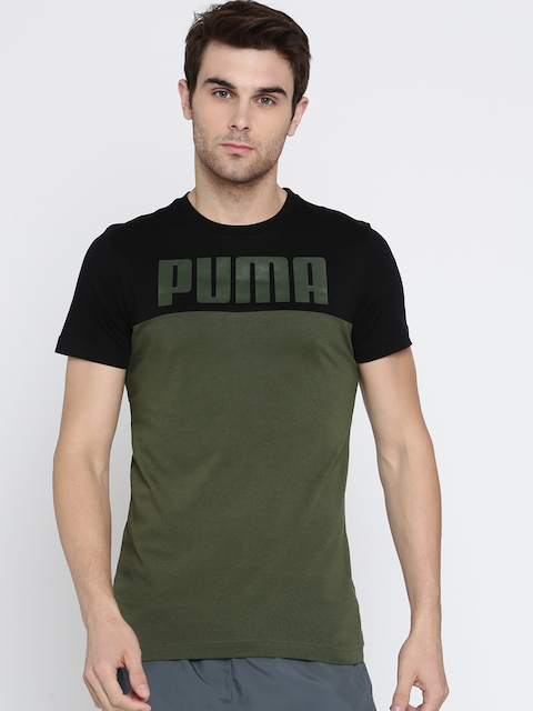 Puma Men Olive Green Colourblocked RebelBlock T-shirt