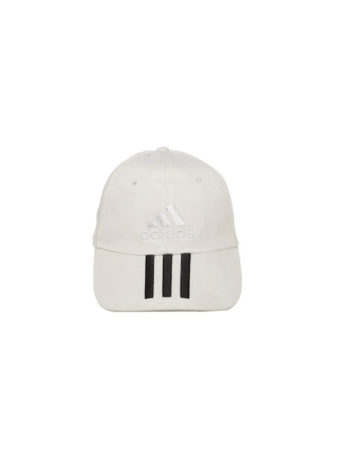 ADIDAS Unisex White 6 Panel 3 Stripes COTTON Cap