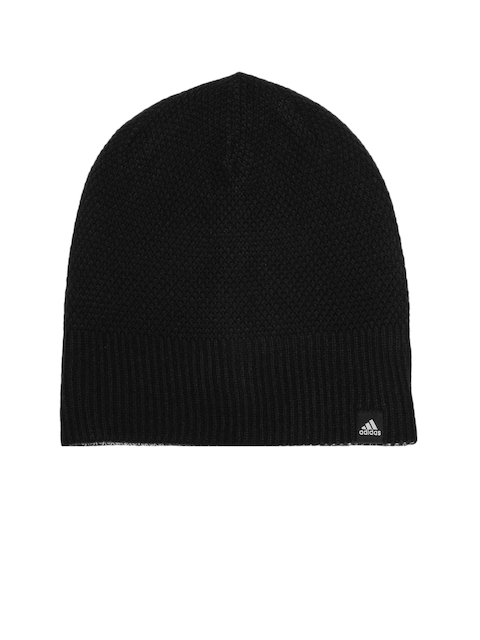 Adidas Women Black & Grey Melange CL REV Patterned Reversible Beanie