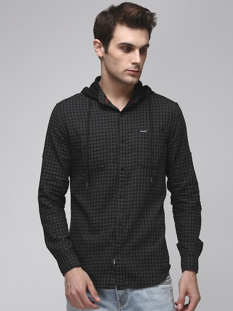 Ecko Unltd Men Charcoal & Black Slim Fit Checked Casual Shirt