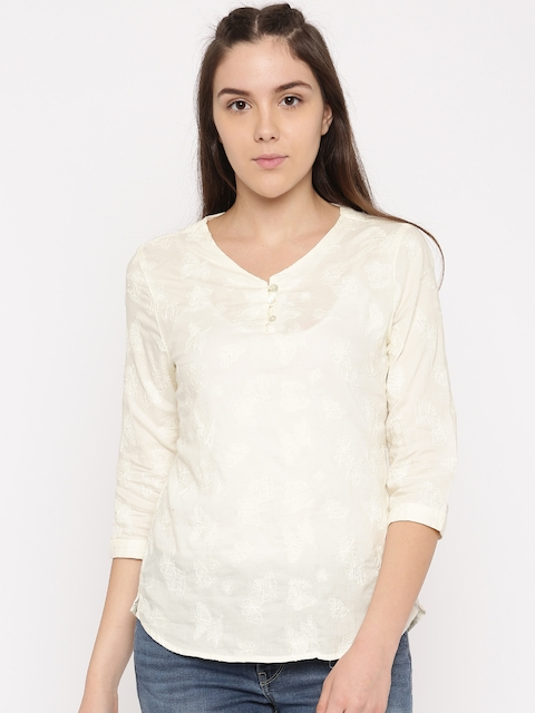 Levis Women Cream-Coloured Embroidered Top