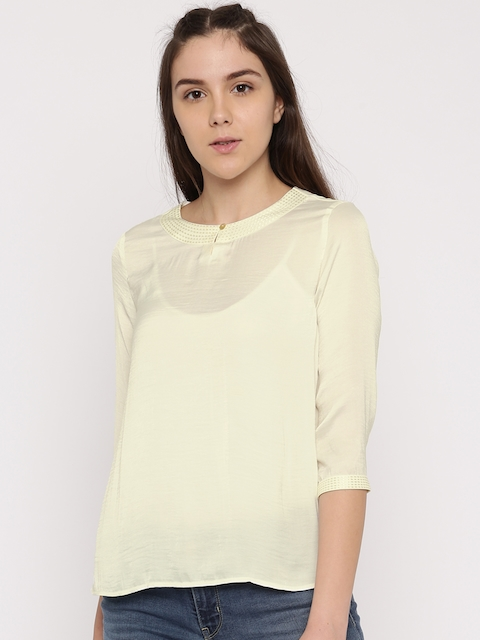 Levis Women Off-White Solid Top
