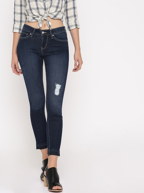 Levis Women Blue Skinny Fit High-Rise Mildly Distressed Stretchable Jeans